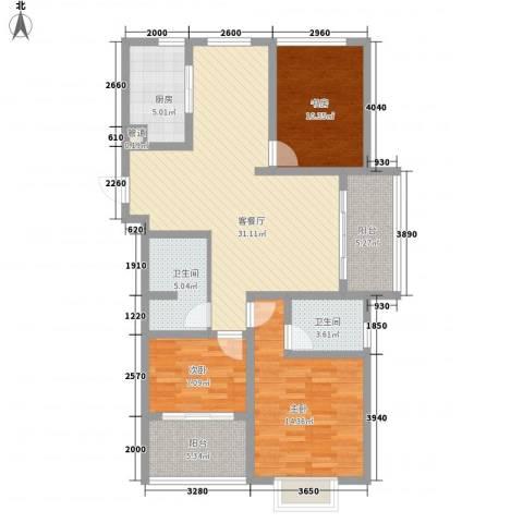香格里拉3室1厅2卫1厨128.00㎡户型图