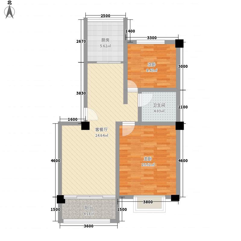 迪威佳苑B座-1户型2室2厅1卫1厨