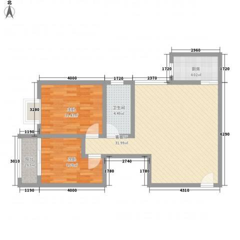 瑞丰新欣城2室1厅1卫1厨91.00㎡户型图