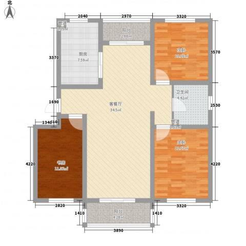 保利百合花园3室1厅1卫1厨126.00㎡户型图