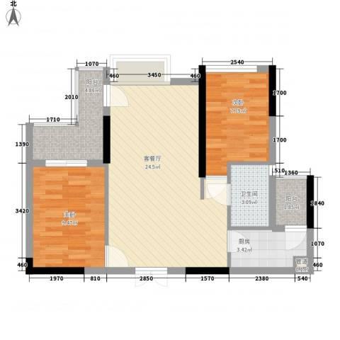 山畔阳光2室1厅1卫1厨81.00㎡户型图