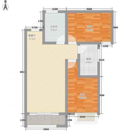 瑞丰新欣城2室1厅1卫1厨88.00㎡户型图