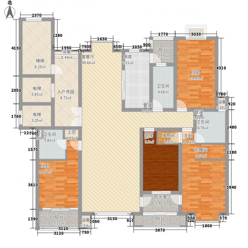中洋现代城237.00㎡b户型3室3厅4卫1厨