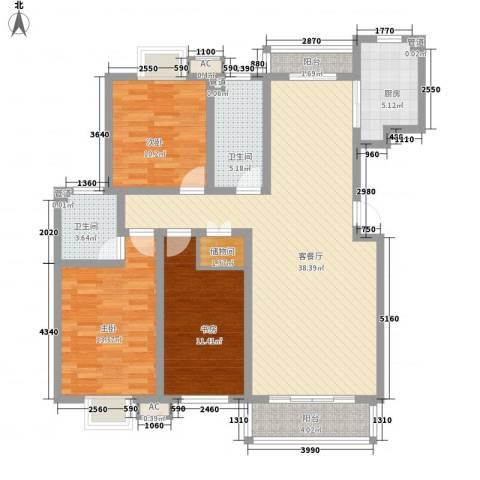 保利百合花园3室1厅2卫1厨140.00㎡户型图