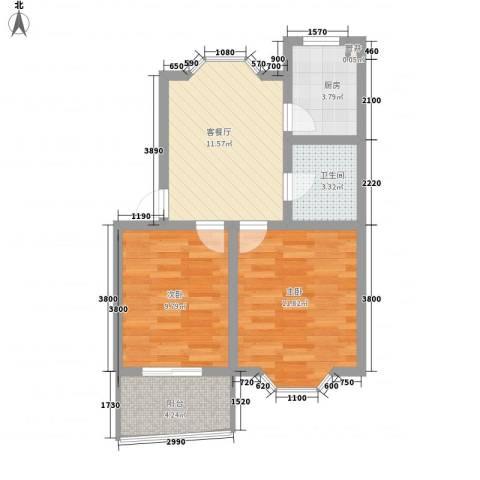 茶香坊2室1厅1卫1厨65.00㎡户型图