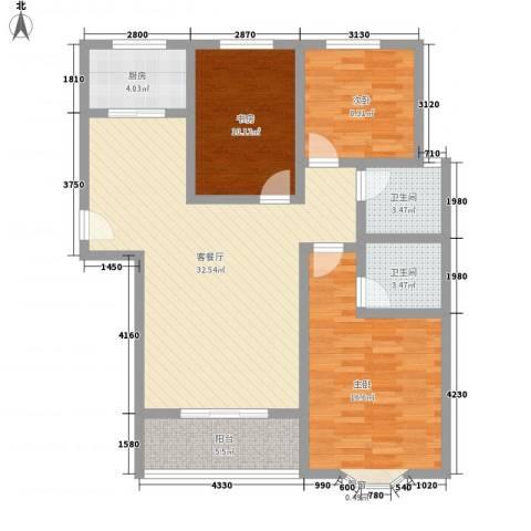 久新悦城3室1厅2卫1厨122.00㎡户型图