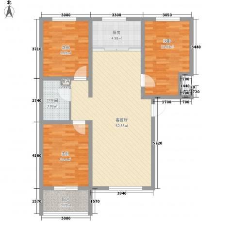 尚水河畔3室1厅1卫1厨113.00㎡户型图