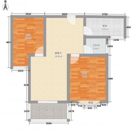 久新悦城2室1厅1卫1厨90.00㎡户型图