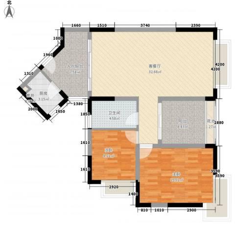 新世纪丽江豪园五期牡丹阁2室1厅1卫1厨99.00㎡户型图