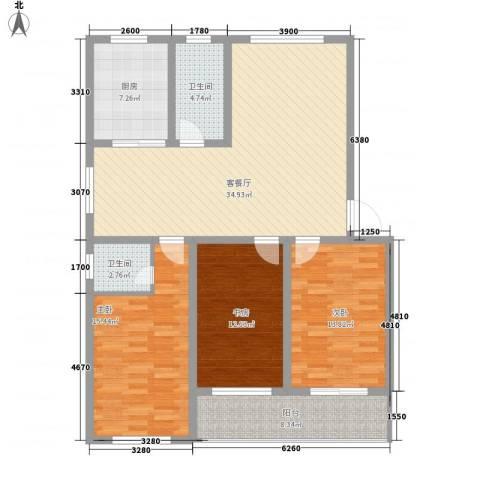 宜丰苑3室1厅2卫1厨128.00㎡户型图