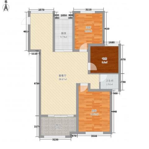 华苑小区3室1厅1卫1厨124.00㎡户型图