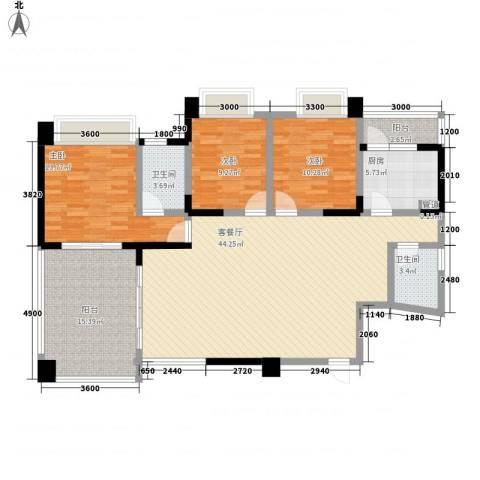 蓝色海岸国际家园第三期3室1厅2卫1厨144.00㎡户型图