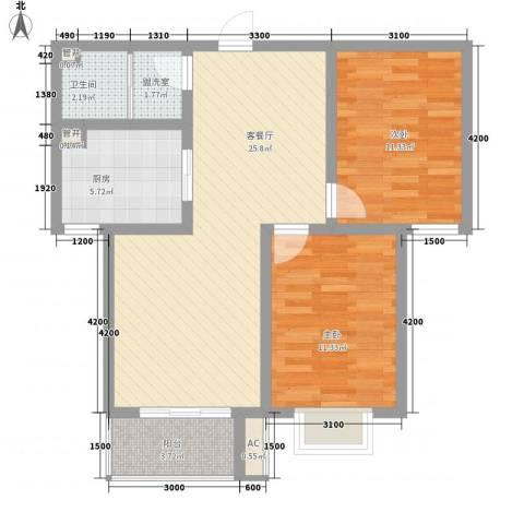 天鸿国际2室1厅1卫1厨89.00㎡户型图