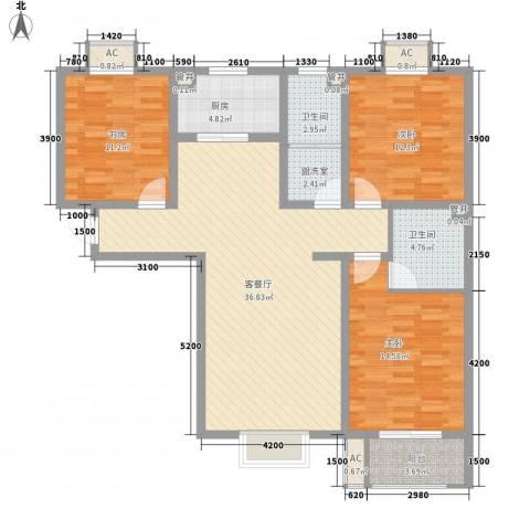 天鸿国际3室1厅2卫1厨134.00㎡户型图