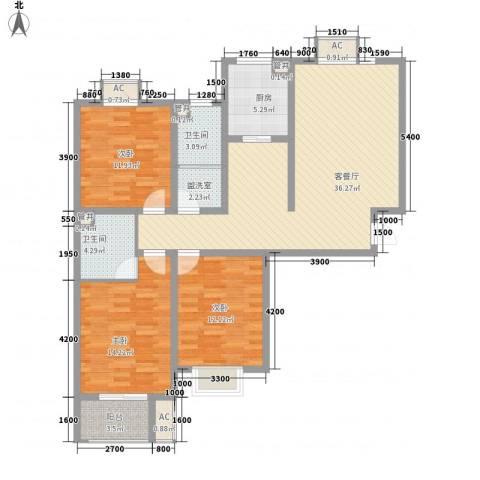 天鸿国际3室1厅2卫1厨133.00㎡户型图