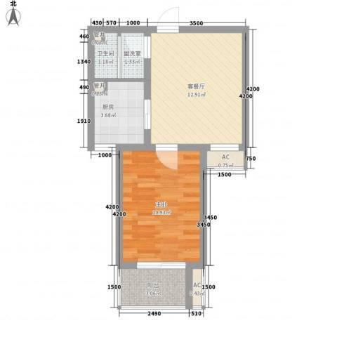 天鸿国际1室1厅1卫1厨34.46㎡户型图