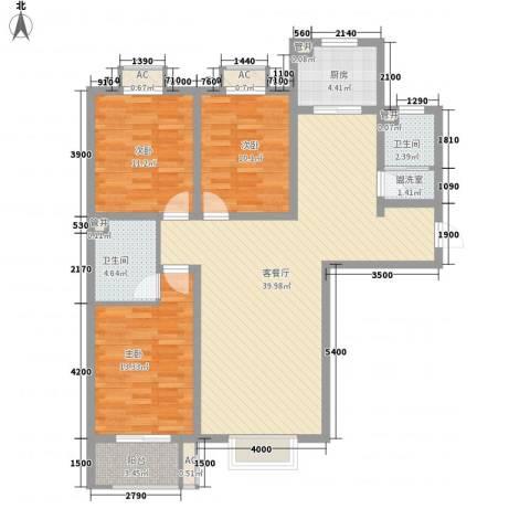 天鸿国际3室1厅2卫1厨135.00㎡户型图
