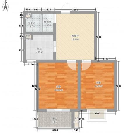 天鸿国际2室1厅1卫1厨75.00㎡户型图