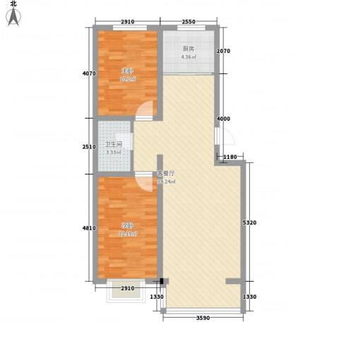 丽水山城2室1厅1卫1厨92.00㎡户型图