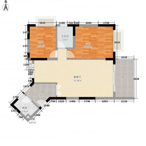 新世纪丽江豪园五期牡丹阁2室1厅1卫1厨95.00㎡户型图