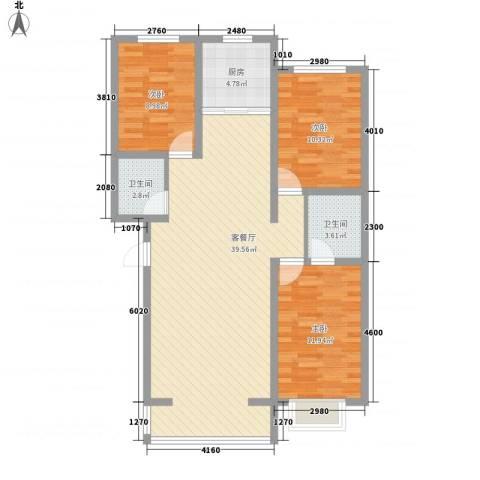 丽水山城3室1厅2卫1厨116.00㎡户型图