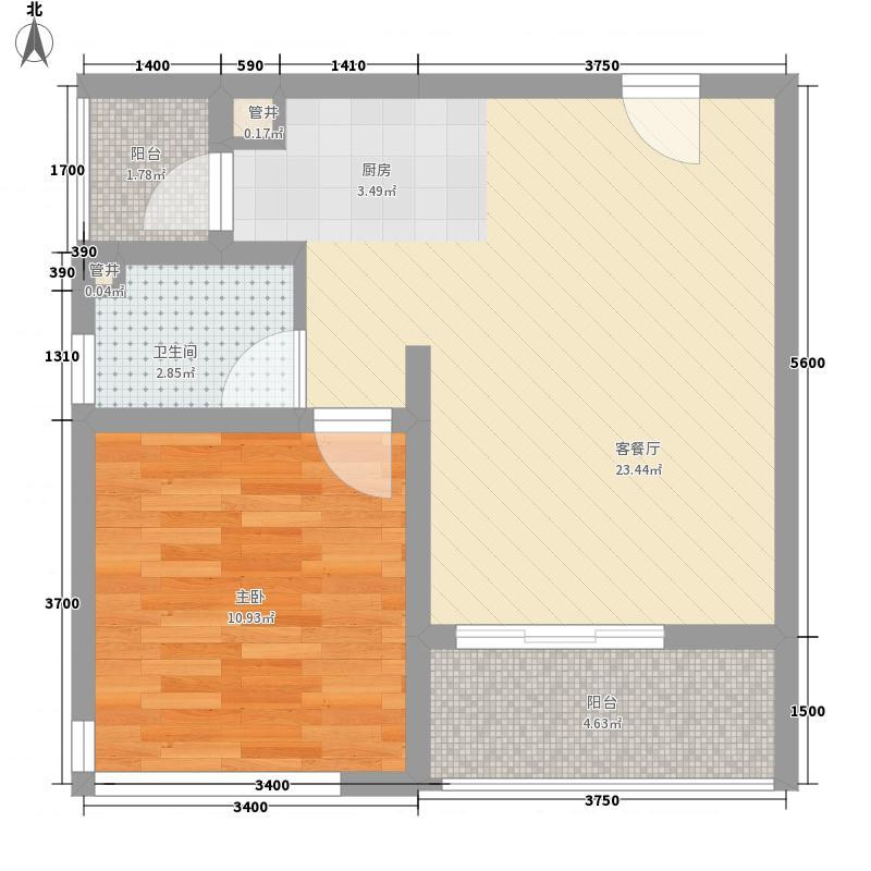 龙湖睿城46.37㎡学院派E-3户型1室1厅1卫1厨