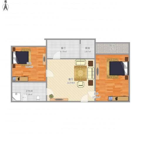 农科院二宿舍2室2厅1卫1厨99.00㎡户型图