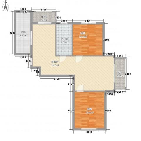 湾德里华府2室1厅1卫1厨86.55㎡户型图