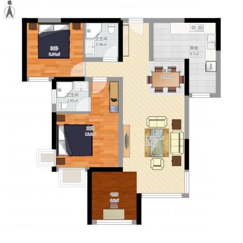 建发中央鹭洲2室1厅2卫1厨105.00㎡户型图