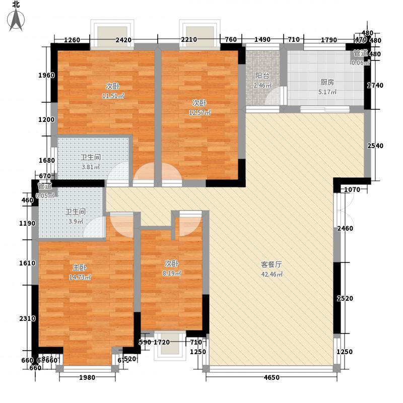 丽阳星城户型图B 4室2厅2卫1厨