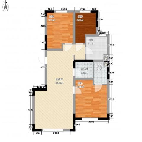 上东城市之光3室1厅2卫1厨101.00㎡户型图