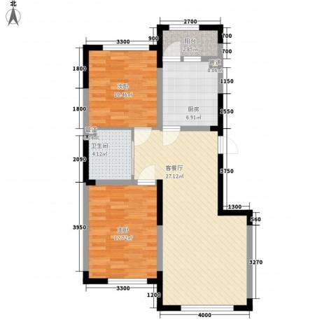 上东城市之光2室1厅1卫1厨92.00㎡户型图