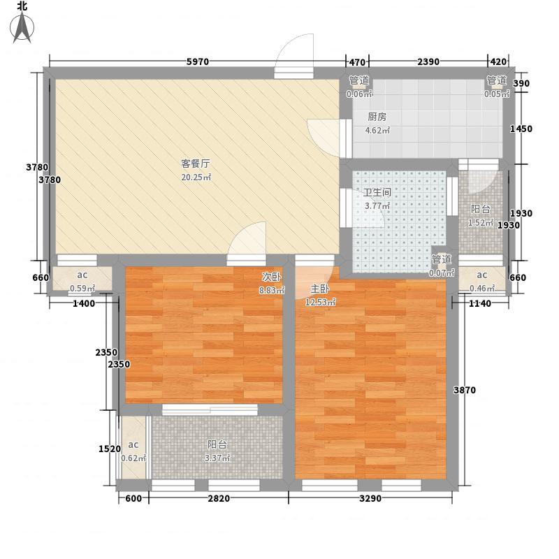 圣骊河滨苑三期84.00㎡标准层84平户型2室2厅1卫1厨