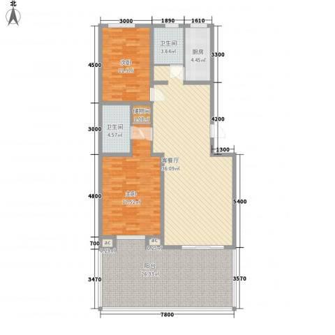 长大小区2室1厅2卫1厨148.00㎡户型图
