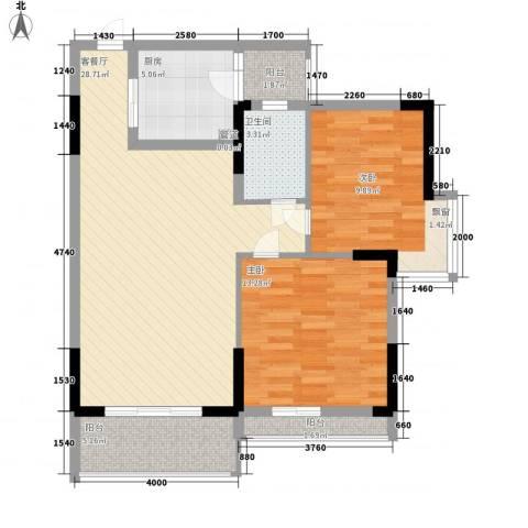 睿力上城1室1厅1卫1厨88.00㎡户型图