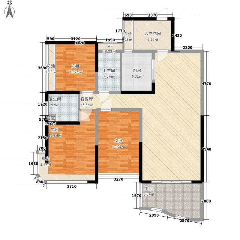红橡华园126.34㎡8栋33层朝南03户型