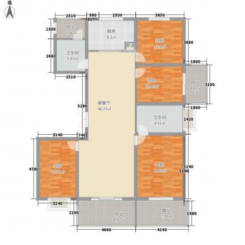 新中国际4室1厅2卫1厨170.00㎡户型图