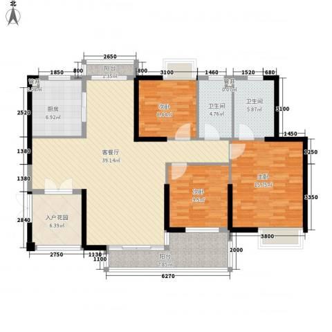 黄旗山1号3室1厅2卫1厨135.00㎡户型图