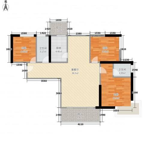 宝丰绿洲3室1厅2卫1厨142.00㎡户型图