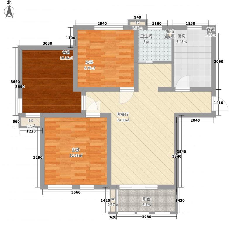 圣骊河滨苑三期104.00㎡标准层104平户型2室2厅1卫1厨