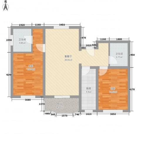 京南嘉园2室1厅2卫1厨97.00㎡户型图