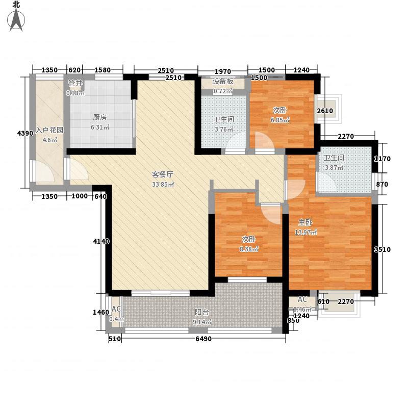 华强城公园1号134.00㎡公园1号72#楼D3户型3室2厅2卫1厨