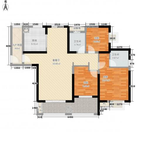 华强城公园1号3室1厅2卫1厨107.76㎡户型图