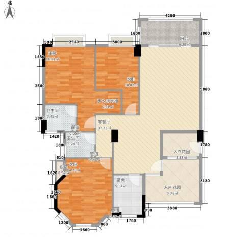 奥米茄花园3室1厅2卫1厨144.00㎡户型图