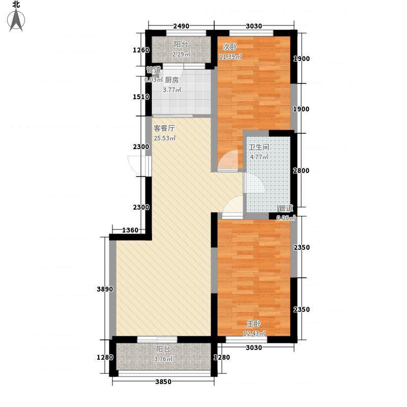 溪湖芳庭90.41㎡溪湖芳庭户型图B7-b户型2室2厅1卫户型2室2厅1卫