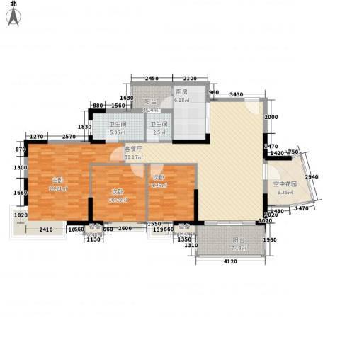 康怡丽苑3室1厅2卫1厨121.00㎡户型图