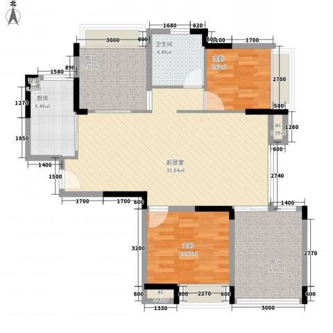 中信城市广场2室0厅1卫1厨107.00㎡户型图
