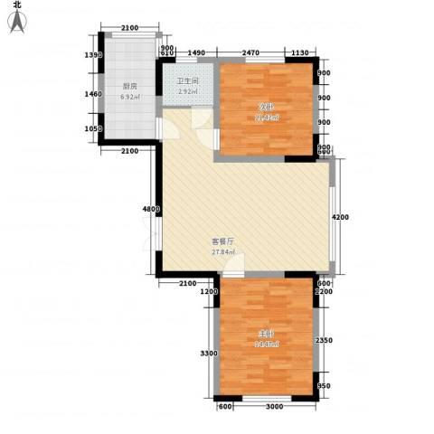 龙泰富苑2室1厅1卫1厨89.00㎡户型图