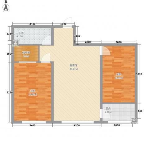 金桥花园2室1厅1卫1厨98.00㎡户型图