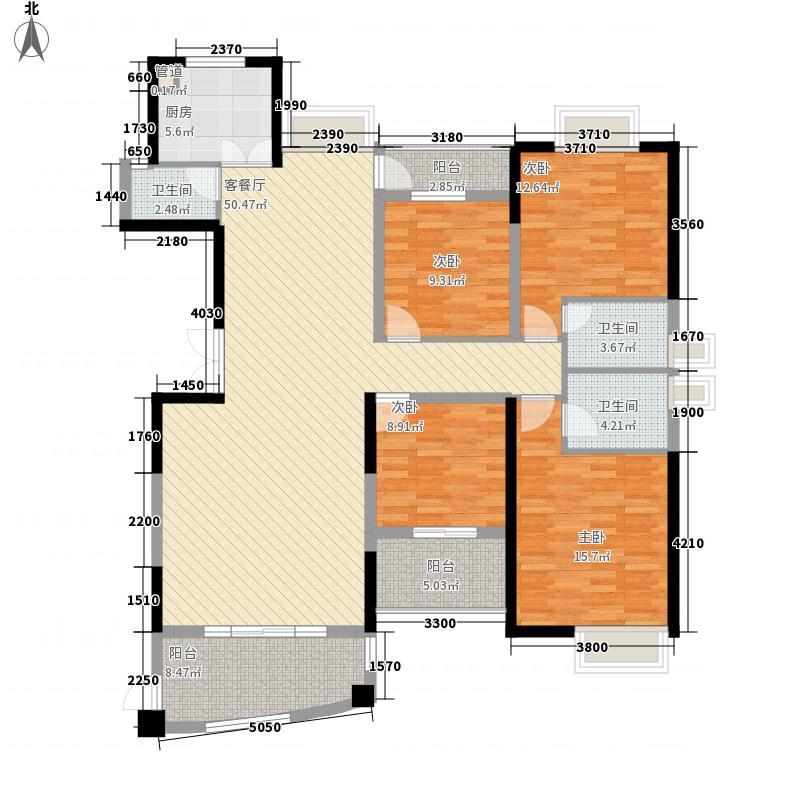 联泰香域中央168.00㎡高层21#楼户型4室2厅3卫1厨